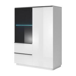 Buffet haut 2 portes collection TONGA coloris blanc finition verre fumé + LED. Style design.