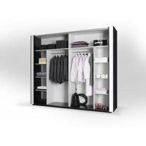 Armoire LINA blanche et noire brillante tout équipée. Meuble design pour votre chambre à coucher