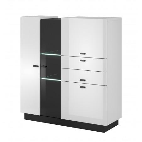 Buffet haut, vitrine CRISTAL. Coloris blanc et noir avec finition brillante. Style design.