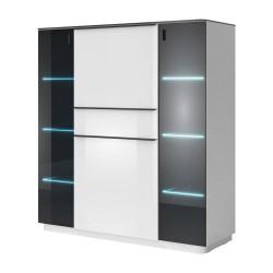 Buffet haut TONGA quatre portes et un tiroirs. Coloris blanc finition brillante + LED. Style design.PR#5173BUFFET-BAHUT-ENFILADE