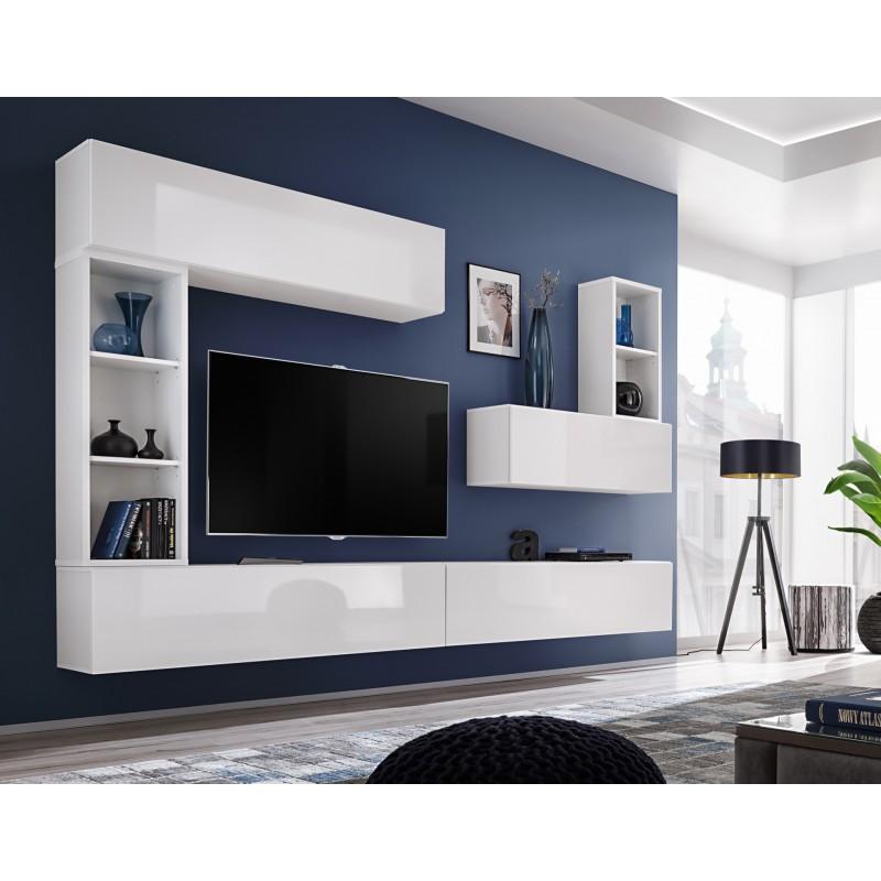 Ensemble meuble tv mural CUBE 1. Coloris blanc et blanc brillant. Meubles de salon suspendu.