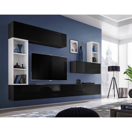 Ensemble meuble tv mural CUBE 1. Coloris noir et blanc. Meubles de salon suspendu.