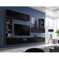 Ensemble meuble tv mural CUBE 1. Coloris noir et noir brillant. Meubles de salon suspendu.