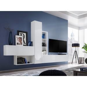 Ensemble meuble tv mural CUBE 4. Coloris blanc et blanc brillant. Meubles de salon suspendu.
