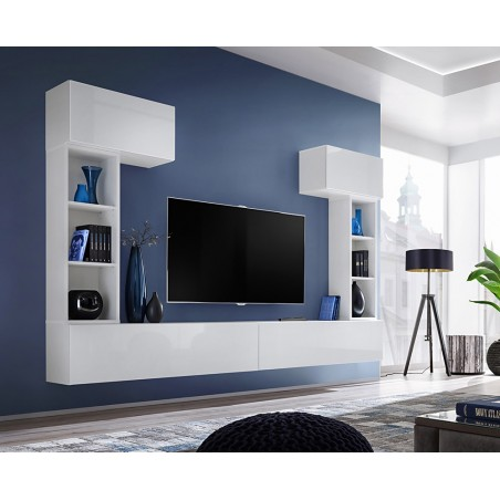 Ensemble meuble télé mural CUBE 2 design coloris blanc et blanc brillant. Meuble de salon suspendu