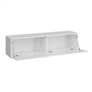 Ensemble meuble télé mural CUBE 2 design coloris blanc et blanc brillant. Meuble de salon suspenduPR#5182ENSEMBLE COMPLET