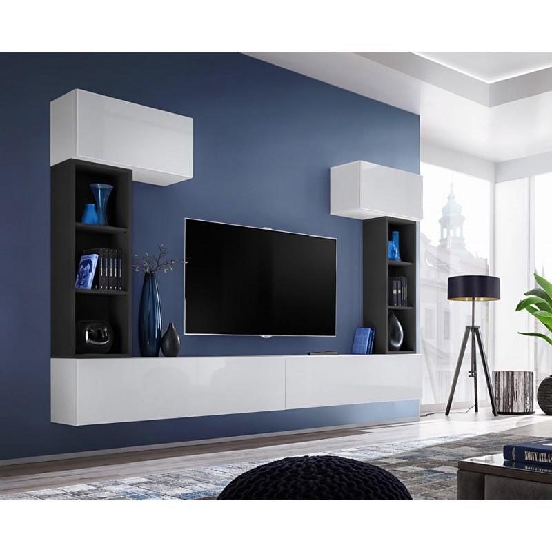 Ensemble meuble télé mural CUBE 2 design coloris blanc et noir. Meuble de salon suspenduPR#5183ENSEMBLE COMPLET