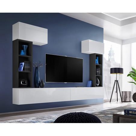 Ensemble meuble télé mural CUBE 2 design coloris blanc et noir. Meuble de salon suspendu