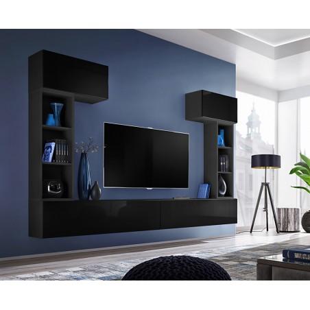Ensemble meuble télé mural CUBE 2 design coloris noir et noir brillant. Meuble de salon suspendu