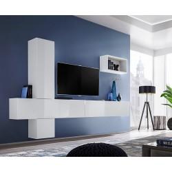 Ensemble meuble télé mural CUBE 6 design coloris blanc et blanc brillant. Meuble de salon suspendu