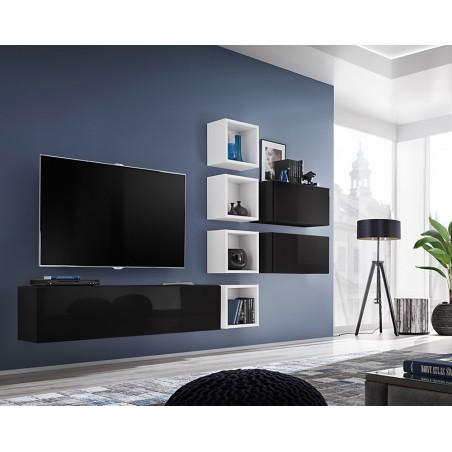 Ensemble meuble TV mural CUBE 7 design coloris noir et blanc. Meuble de salon suspendu