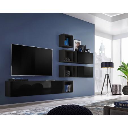 Ensemble meuble TV mural CUBE 7 design coloris noir et noir brillant. Meuble de salon suspendu