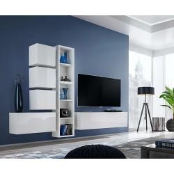 Ensemble meuble TV mural CUBE 11 design coloris blanc et blanc brillant. Meuble de salon suspendu