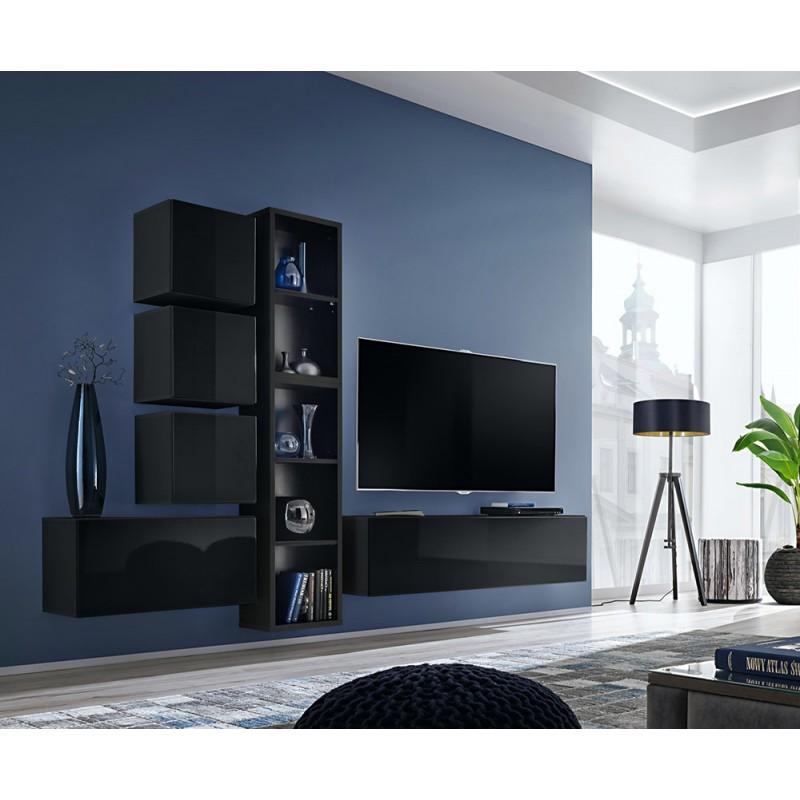 Ensemble meuble TV mural CUBE 11 design coloris noir et noir brillant. Meuble de salon suspendu