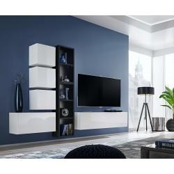 Ensemble meuble TV mural CUBE 11 design coloris blanc et noir. Meuble de salon suspendu