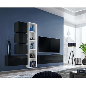Ensemble meuble TV mural CUBE 11 design coloris noir et blanc. Meuble de salon suspendu