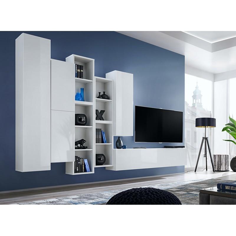 Ensemble meuble TV mural CUBE 12 design coloris blanc et blanc brillant. Meuble de salon suspendu