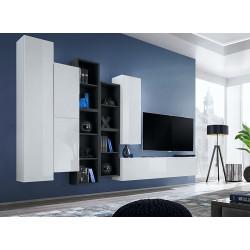 Ensemble meuble TV mural CUBE 12 design coloris blanc et noir. Meuble de salon suspendu