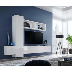 Ensemble meuble TV mural CUBE 13 design coloris blanc et blanc brillant. Meuble de salon suspendu