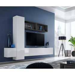 Ensemble meuble TV mural CUBE 13 design coloris blanc et noir. Meuble de salon suspendu