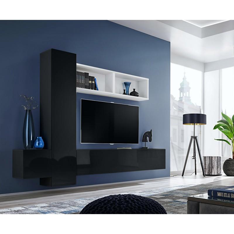 Ensemble meuble TV mural CUBE 13 design coloris noir et blanc. Meuble de salon suspendu