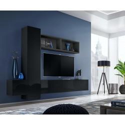 Ensemble meuble TV mural CUBE 13 design coloris noir et noir brillant. Meuble de salon suspendu