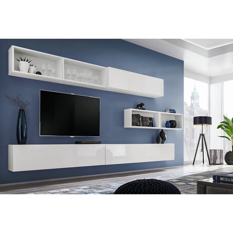 Ensemble meuble TV mural CUBE 14 design coloris blanc et blanc brillant. Meuble de salon suspendu