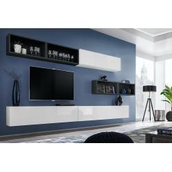 Ensemble meuble TV mural CUBE 14 design coloris blanc et noir. Meuble de salon suspendu