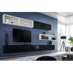Ensemble meuble TV mural CUBE 14 design coloris noir et blanc. Meuble de salon suspendu
