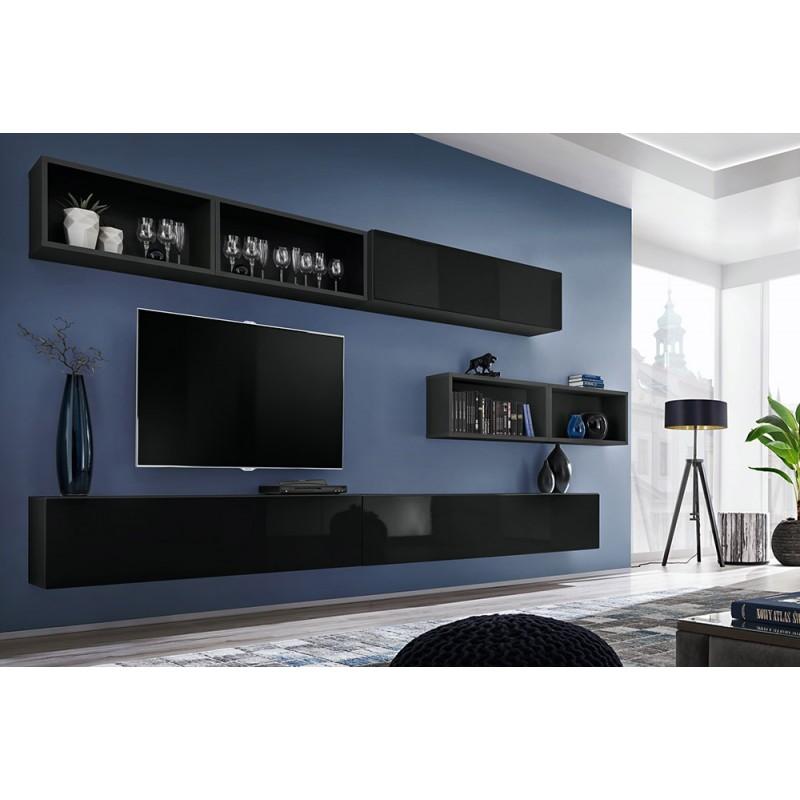 Ensemble meuble TV mural CUBE 14 design coloris noir et noir brillant. Meuble de salon suspendu