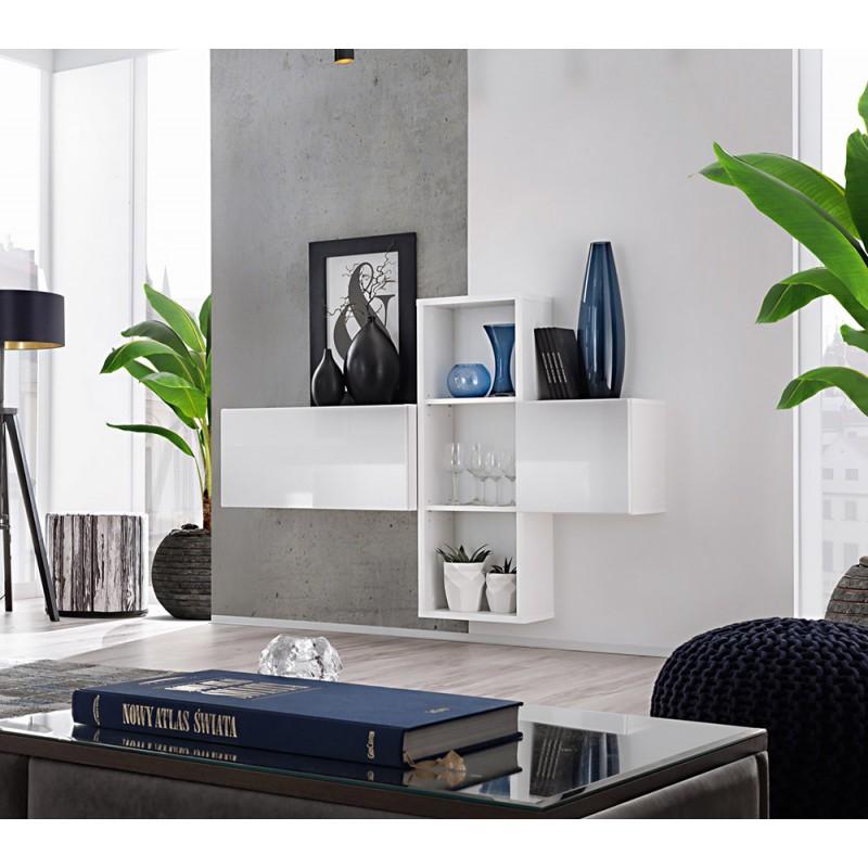 Composition de meubles murales CUBES 1 design coloris blanc et blanc brillant. Meuble de salon suspendu
