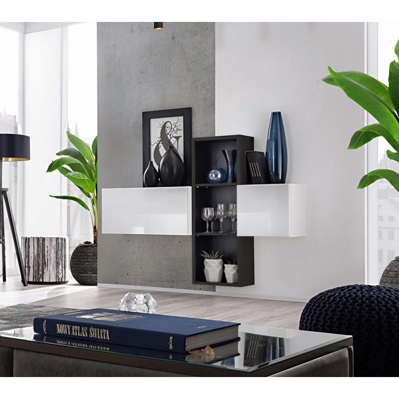 Composition de meubles murales CUBES 1 design coloris blanc et noir. Meuble de salon suspendu