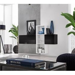 Composition de meubles murales CUBES 1 design coloris noir et blanc. Meuble de salon suspendu