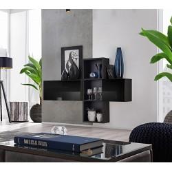 Composition de meubles murales CUBES 1 design coloris noir et noir brillant. Meuble de salon suspendu