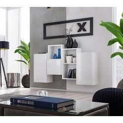 Composition de meubles murales CUBES 3 design coloris blanc et blanc brillant. Meuble de salon suspendu