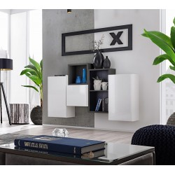 Composition de meubles murales CUBES 3 design coloris blanc et noir. Meuble de salon suspendu