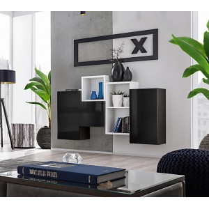 Composition de meubles murales CUBES 3 design coloris noir et blanc. Meuble de salon suspendu