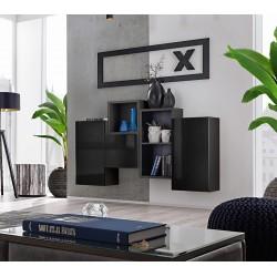 Composition de meubles murales CUBES 3 design coloris noir et noir brillant. Meuble de salon suspendu
