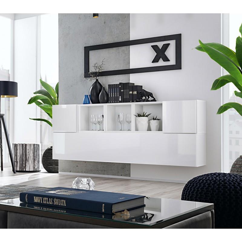 Composition de meubles murales CUBES 5 design coloris blanc et blanc brillant. Meuble de salon suspendu