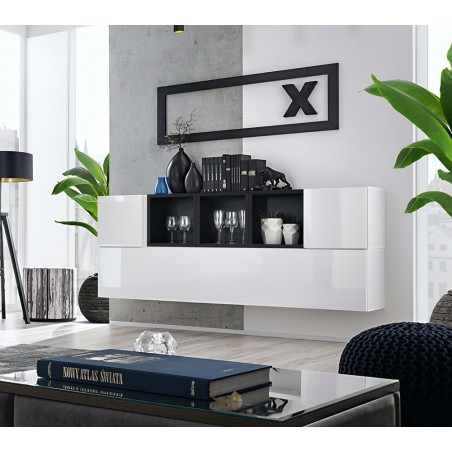 Composition de meubles murales CUBES 5 design coloris blanc et noir. Meuble de salon suspendu