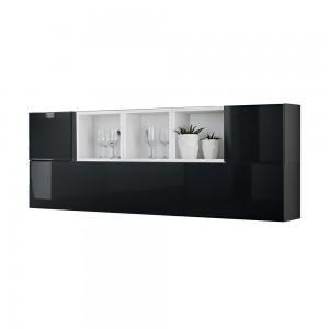 Composition de meubles murales CUBES 5 design coloris noir et blanc. Meuble de salon suspendu