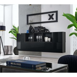 Composition de meubles murales CUBES 5 design coloris noir et noir brillant. Meuble de salon suspendu