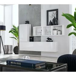 Composition de meubles murales CUBES 6 design coloris blanc et blanc brillant. Meuble de salon suspendu