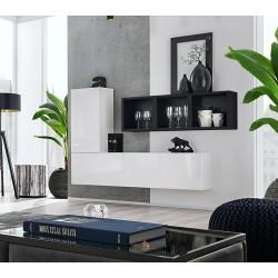 Composition de meubles murales CUBES 6 design coloris blanc et noir. Meuble de salon suspendu