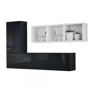 Composition de meubles murales CUBES 6 design coloris noir et blanc. Meuble de salon suspendu
