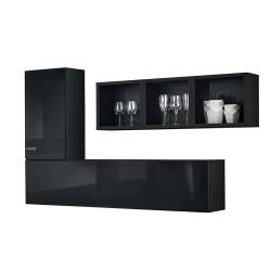 Composition de meubles murales CUBES 6 design coloris noir et noir brillant. Meuble de salon suspendu