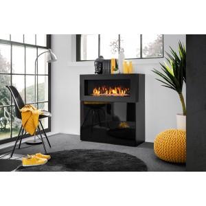 Commode double portes facade noire brillante avec cheminée bio-éthanol.COMINA