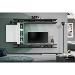 Ensemble meuble TV mural TONY design couleur gris anthracite. Meuble de salon suspendu