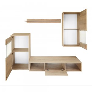 Ensemble meuble TV mural LEA design couleur chêne sonoma. Meuble de salon suspendu