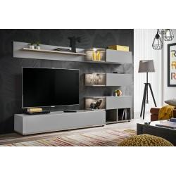 Ensemble de meubles pour votre salon KLIS . Composition murale coloris gris perle et chêne. LED incluses. Meuble tv design